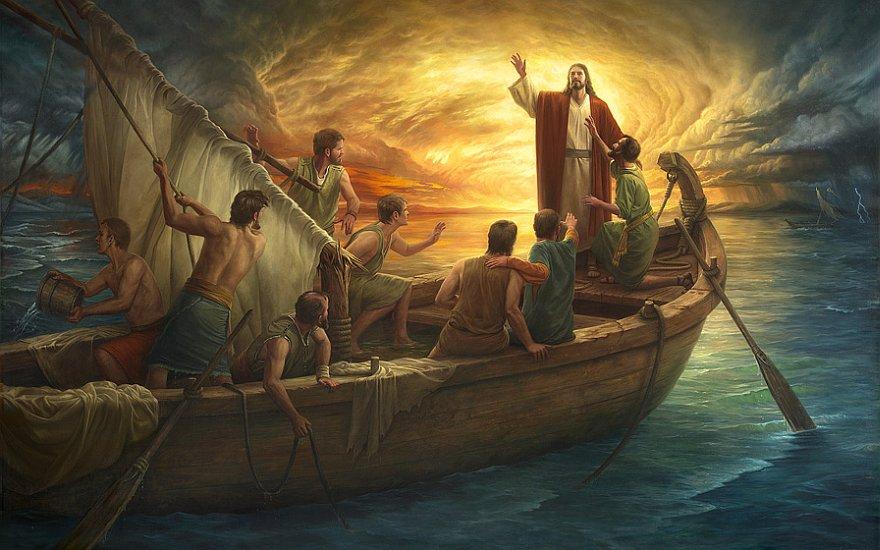 Wszedł do nich do łodzi, a wiatr się uciszył