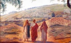 sam Jezus przybliżył się i szedł z nimi