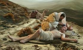 opatrzył mu rany, zalewając je oliwą i winem