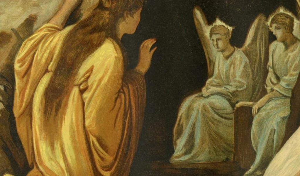Maria Magdalena natomiast stała przed grobem, płacząc…