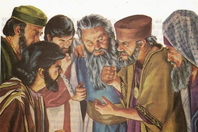 Wtedy faryzeusze odeszli i naradzali się, jak by Go podchwycić w mowie